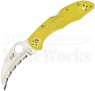 Spyderco Tasman Salt 2 Yellow Lock Back Knife Full Serrated C106SYL2