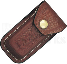 Swiss Army Knife Belt Sheath Brown Leather Basketweave