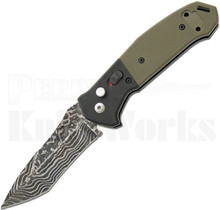 Bear OPS Bold Action V Automatic Knife Black/Green G-10 Damascus