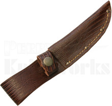 Brown Leather Fixed Blade Knife Belt Sheath Lizard Pattern