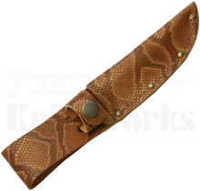 Brown Leather Fixed Blade Knife Belt Sheath Python Pattern