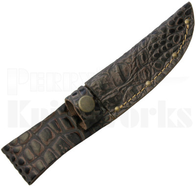 Brown Leather Fixed Blade Knife Belt Sheath Python Pattern