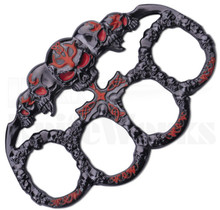 Master Cutlery Red Skulls Belt Buckle Knuckles PK-2445RD
