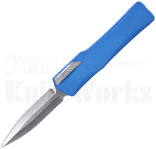 Heretic Knives Cleric Double Edge Automatic Knife Blue l Stonewash