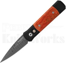 Protech Custom Godson Automatic Knife Red Coral - Damascus