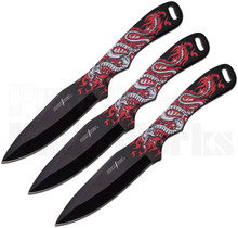 Perfect Point Dragon Throwing Knives Black/Red