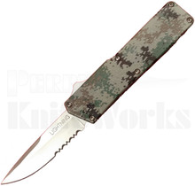 Lightning Digital Camo OTF Automatic Knife l Drop Point Serrated