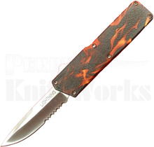Lightning Flames OTF Automatic Knife l Drop Point Serrated
