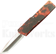 Lightning Flames D/A OTF Automatic Knife l Tanto Plain Edge