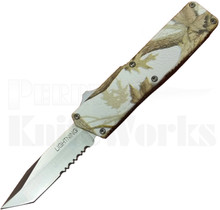 Lightning Tree Camo D/A OTF Automatic Knife l Tanto Part Serrated