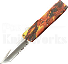 Lightning Flames D/A OTF Automatic Knife l Tanto Partially Serrated