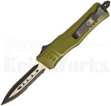 CobraTec Small OTF Automatic Knife OD-Green Dagger Half Serrated