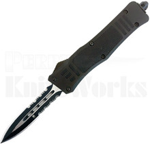 CobraTec Small OTF Automatic Knife Black Dagger Blade Serrated