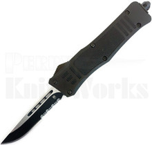 CobraTec Small OTF Automatic Knife Black Part Serrated Drop Point