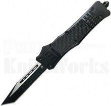 CobraTec Small OTF Automatic Knife Black Zinc Tanto Blade