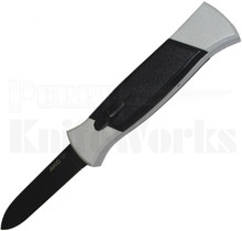AKC 777 Black Finger Automatic Knife White/Black l Black Flat