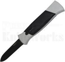 AKC 777 Black Finger Automatic Knife White/Black l Black Flat