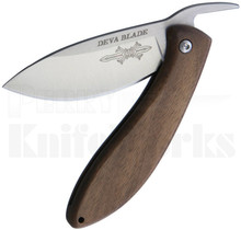 Deva Blade Skanda Friction Folder Knife Walnut Wood