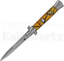 "Italian Style 9"" Stiletto Yellow Swirl Automatic Knife FA004YW"