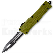 CobraTec Large CTK-1 OTF Automatic Knife Green Dual Serrated Dagger