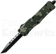 Delta Force Mini OTF Automatic Knife Green Camo Tanto Point Blade