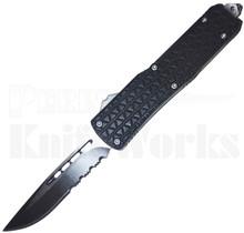 Cutting Edge Triad Mini Black OTF Automatic Knife l 2-Tone Serrated