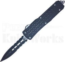 Cutting Edge Triad Mini Black Automatic Knife Spear Point Dual Serrated