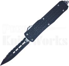 Cutting Edge Triad Mini Black OTF Automatic Knife Spear Point Serrated
