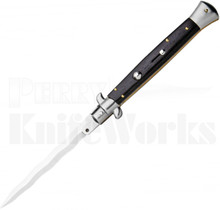 "Frank B. 11"" Ebony Wood Stiletto Automatic Knife l 5"" Kriss Blade l For Sale"