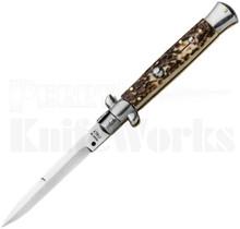 """SKM 9"""" Italian Stiletto Bayonet Automatic Knife Stag"""