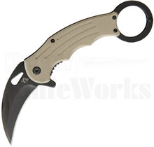 Mantis Karambit Spring Assisted Knife Desert Tan G-10