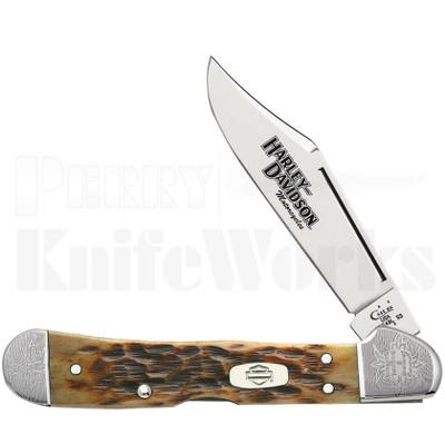 Case XX Mini Copperlock Harley Davidson Knife Peach Seed Bone
