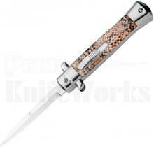 "Italian 9"" Snake Skin Stiletto OTF Automatic Knife"
