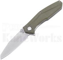 Ultra-X Omen Liner Lock Flipper Knife Green G-10 l Stonewash Blade