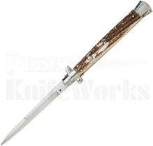"""SKM 13"""" Italian Stiletto Bayonet Automatic Knife Stag"""