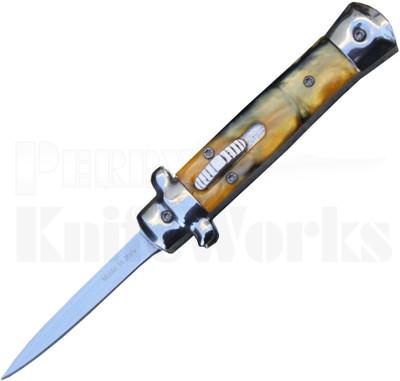 "Italian 5"" Mini Tortoise Shell Stiletto OTF Automatic Knife"