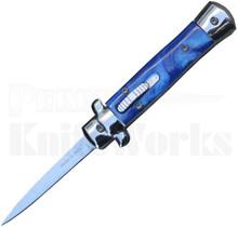 "Italian 5"" Mini Blue Marble Stiletto OTF Automatic Knife"