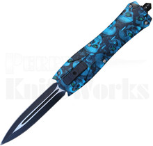 Delta Force OTF Dagger Automatic Knife Blue Skulls