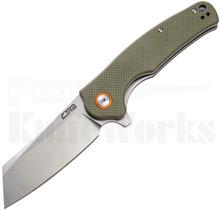 CJRB Cutlery Crag Liner Lock Knife Green G-10 l Stonewash D2 Clever