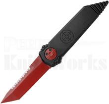 "Paragon Dredd Lock Knife Black Aluminum l 4.0"" Red Serrated Blade"