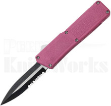 Lightning Pink D/A OTF Automatic Two-Tone Serr Double Edge Knife