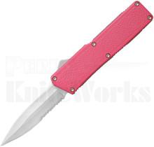 Lightning Pink D/A OTF Automatic l Satin Serr Double Edge Knife