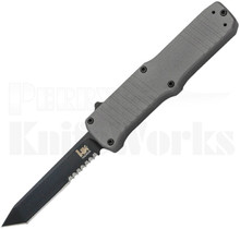 HK Hadron OTF Tanto Automatic Knife Gray l Black Serrated 54002