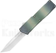 Lightning Camo D/A OTF Tanto Automatic Knife Satin Blade