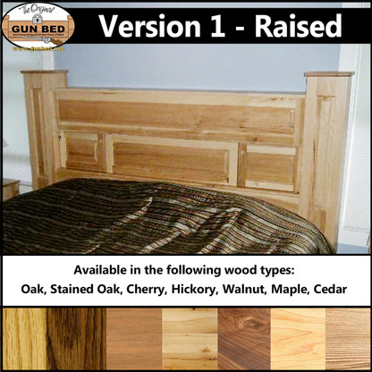 Gun Bed - Version 1 - Raised Panel. Available in Oak, Stained Oak, Cherry, Hickory, Walnut, Maple, Cedar