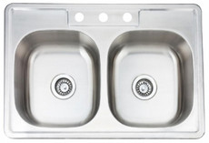 Stainless Steel Kitchen Sink Overmount Double Even