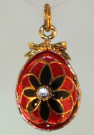 BlavkRed pendant with gold bale