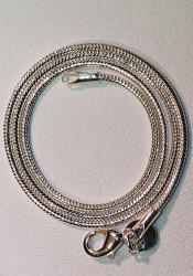 Close-up of Silver plated snake chain