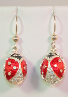 Petite Ladybug Crystal Earrings