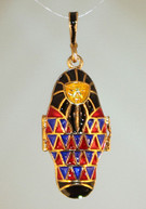 Red Blue pendant with Gold bale